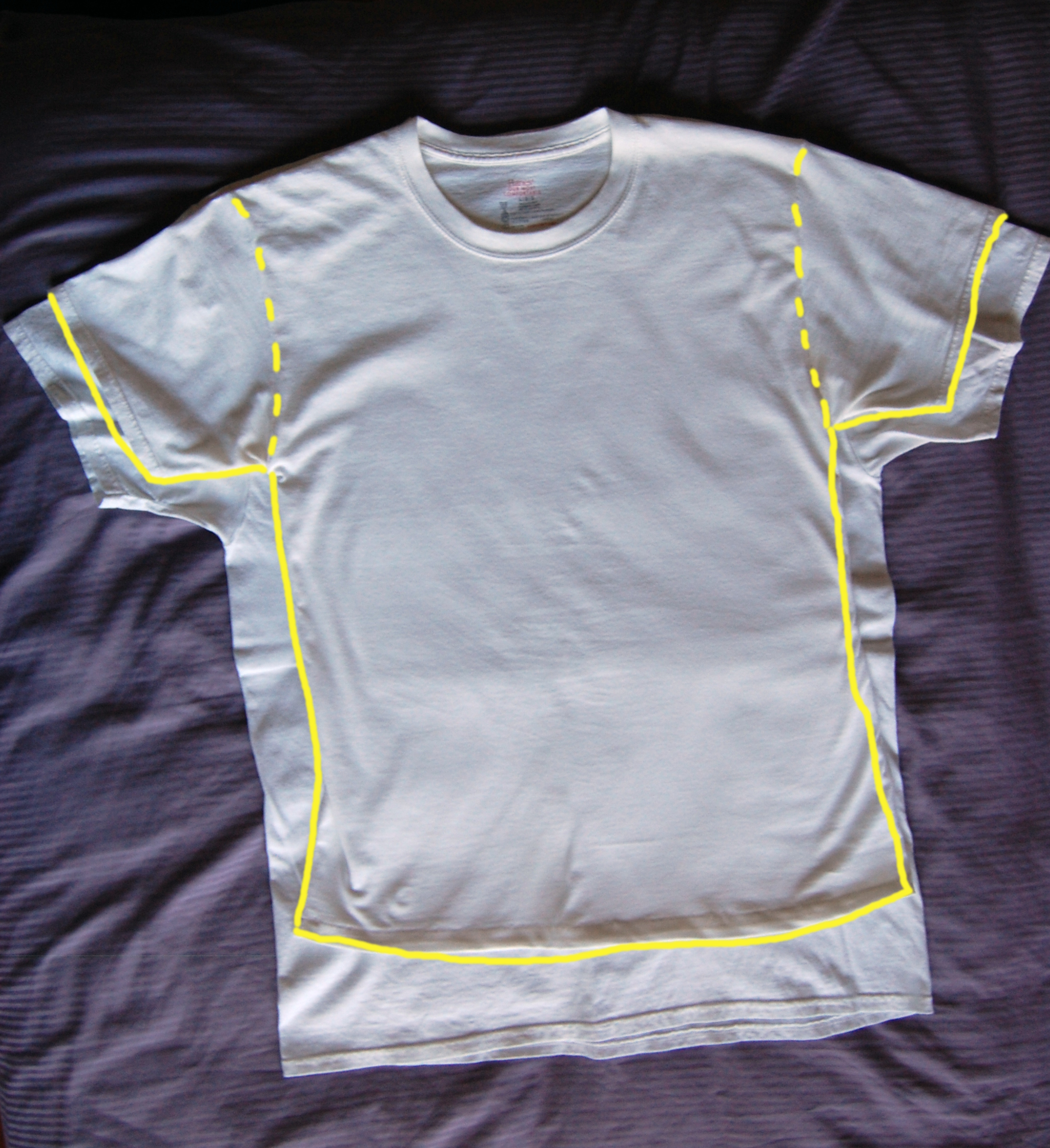 Tailored undershirt with changes highlighted