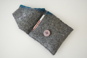 One button wallet, with flap open